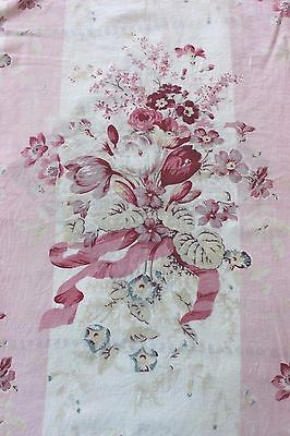 Pair Of French Antique Faded Shabby Pink Floral & Ribbons Curtain Panels c1900