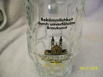Vintage German Zwiefalter Klosterbrau .3L glass drink beer mug