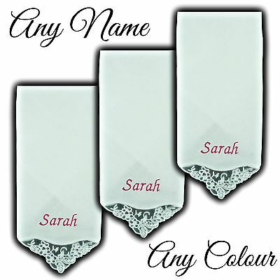 100% Cotton Embroidered Personalised Lace Corner Handkerchief Name Gift Hankie
