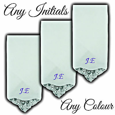 100% Cotton Embroidered Personalised Lace Corner Handkerchief Initials Name