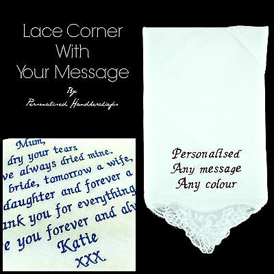 Personalised Handkerchief Lace Corner 100% Cotton Embroidered Message Poem