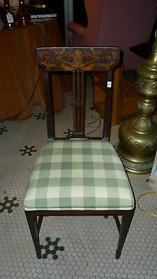 Antique Petite Period Side Chair with Hand Carved Inlay