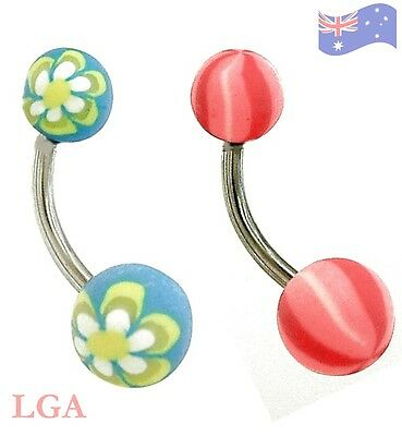 BELLY BAR SOFT FIMO FUNKY SUMMER RANGE 14G 10MM X2 FREE POSTAGE body jewellery A