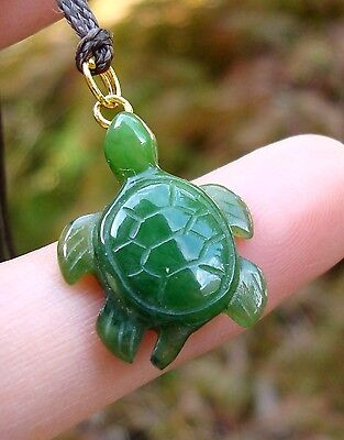 Canadian Top Grade  Jade Turtle Charm Pendant Waxed Cord