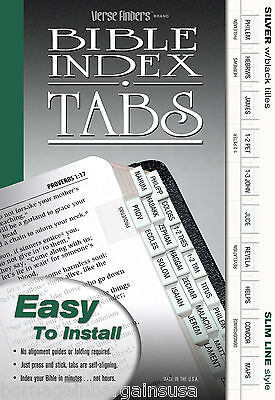 LONG LASTING Bible Book Index Dividers Labels Tabs Slim Silver COMPLETE NEW SET