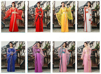 Hot Elegant Chinese Ancient Tang Fairy Princess Dramaturgic Costume Robe Dress