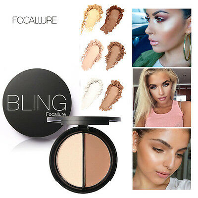 Focallure Bling Face Contour Bronzer Highlighter Shimmer 2 Diff Colors Real 100%