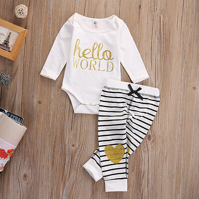 Newborn Infant Baby Girl Hello World Romper Tops Long Pants Outfits Set Clothes