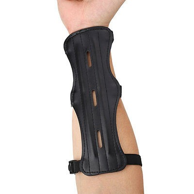 Leather 3 Strap Shooting Archery Arm Guard Safety Protection Gear Hunting Black