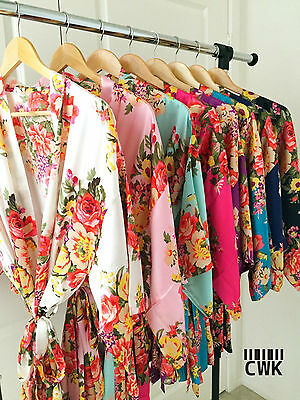 Floral silk bridesmaid robes gowns bride wedding party kimono robes Nursing Gown