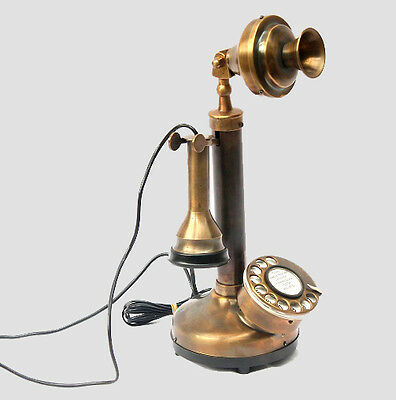 Vintage Antique Candlestick Phone Brass Replica Landline Wired Phones Home Desk