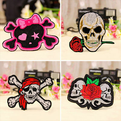 Punk Skull Embroidered Iron On / Sew On Patch Applique Badge 4 Styles DIY