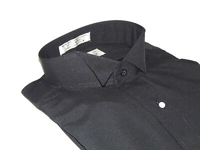 Men's Tuxedo shirt By CLASSIX Wing Tip Formal Plain Front After Six M14 Black