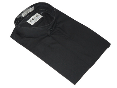 Men Formal pastor shirt CLASSIX Banded Collar less Hidden Button Front M08 Black