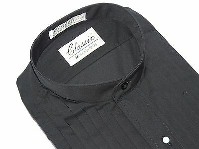 Men's Formal Pastor shirt By CLASSIX Banded Collarless Pleated Tuxedoe M06 Black