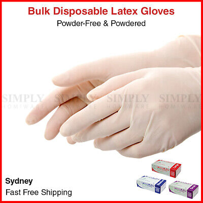 Lincon Latex Gloves Disposable Powder Free Powdered Examination Medical S M L XL
