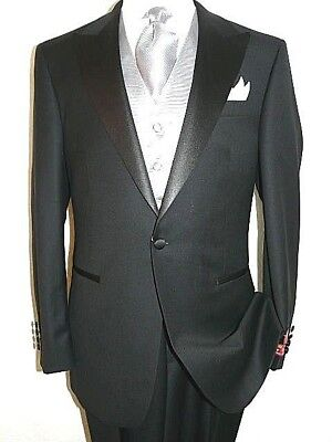 Men's Wool Tuxedo peak Lapel single breasted one button by Mantoni formalwear