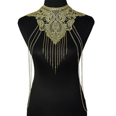 Gold Lace Tassels Bikini Crossover Harness Waist Belly Body Chain Necklace 121