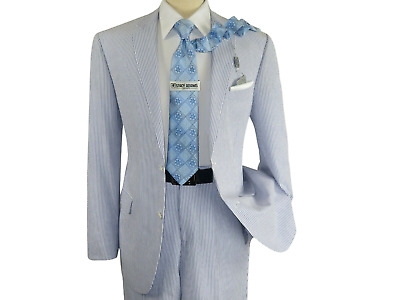Seersucker Suit By Adolfo Blue Stripe Casual Dressy Summer Suit Two Button C622
