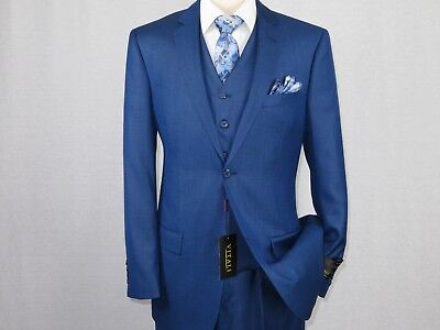 Mens VITALI Three Piece Suit Vested Shiny Sharkskin M3090 Royal blue Sale New