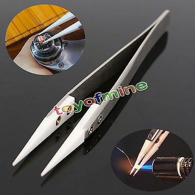 Stainless Steel Ceramic Pointed Tip Tweezer Heat Resistant Anti-acid Anti-static