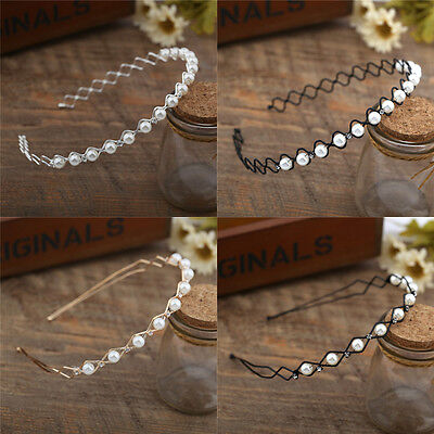 Fashion Women Ladies Crystal Rhinestone Pearl Headband Head Piece Hair Band