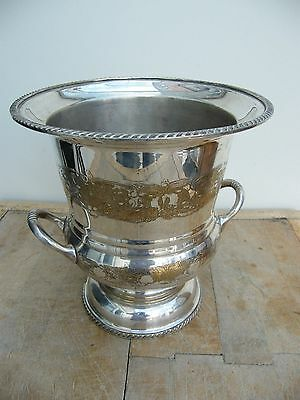 A Large Vintage Brass Silver Plated Ornate Wine Cooler Ice Bucket