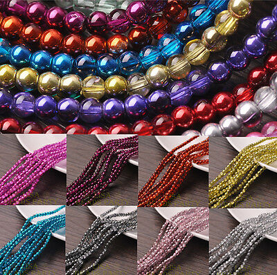 4mm 6mm 8mm Round Glass Loose Spacer Beads Jewelry Making Wholesale Bulk