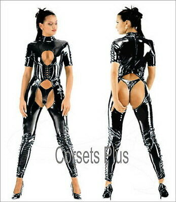 PVC Catsuit 16 - 36 Bodysuit Glossy Wet Look Lace Front Jumpsuit Plus Size BBW