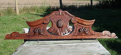 Small Hand Carved Pediment Ornate Overdoor Architectural Medieval Style 27.24""
