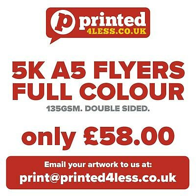 5000 A5 Flyers Double Sided Printed Full Colour 135Gsm A5 A6 Leaflet Flier