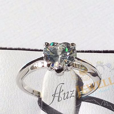 2ct Heart Shape Cubic Zirconia Real 925 Sterling Silver Engagement Ring Sz 4-11