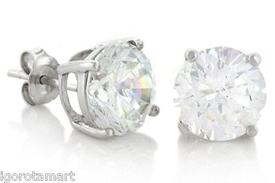 Round Cut Clear Created CZ Diamante Stud 925 Sterling Silver Earrings