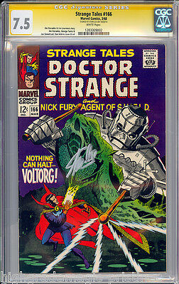 Strange Tales #166 Cgc 7.5 White Pages Stan Lee Signed Cgc # 1203309002