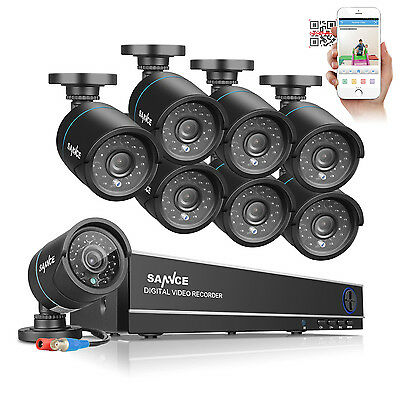 SANNCE 8CH 1080N DVR Video 720P 1500TVL Outdoor Home Shop Security Camera System