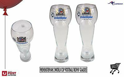 Weihenstephaner 2 Beer Glasses 1990 Football World Cup Winners RARE! & Stunning