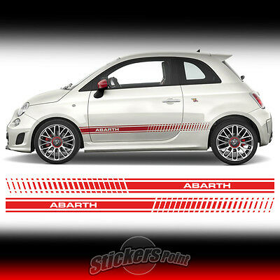 2 STRISCE LATERALI adesive fasce FIAT 500 ABARTH stripes decal stickers bande