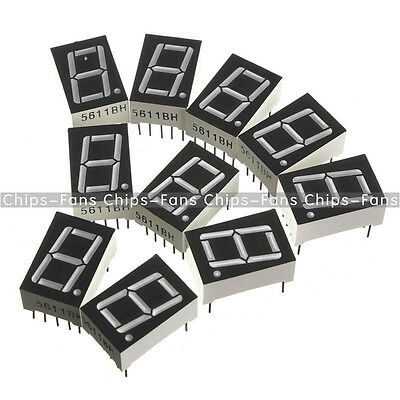New 10PCS Red 7 Segment 0.5 feet  LED Display Digital Tube Common Anode 1 Bit CF