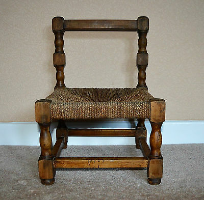 Vintage Child's Small Woven Oak Chair