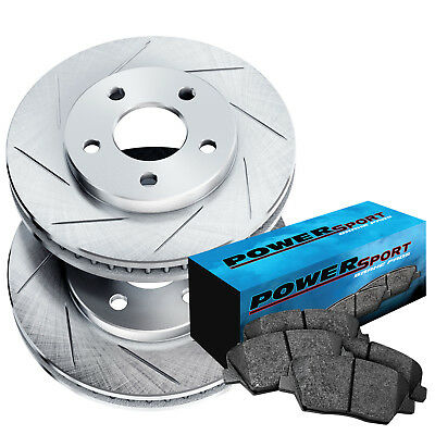 Fit Ford, Mercury Thunderbird, Cougar Front  Slotted Brake Rotors+Ceramic Pads