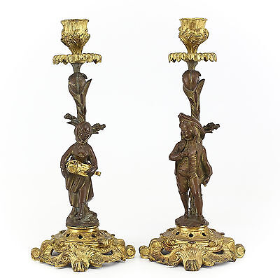 Pair of French Gilt Bronze Candlesticks, 19th Century Male & Female Musicians