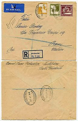 PALESTINE 1946 REGISTERED AIRMAIL to ITALY...JERUSALEM