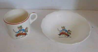 Vintage Tom Tom the Piper's Son Child Cup and Bowl