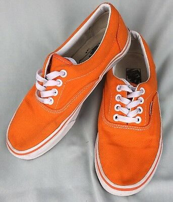 RARE VANS VTG Made In USA Orange Canvas Shoes Men Size 5 OR W 7 Sneakers e13785ce4