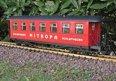Zenner Sleeper, red, MITROPA, G Scale, Stainless steel wheels, for LGB Clutch
