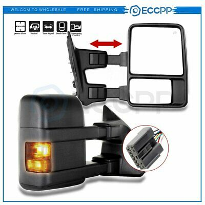 Towing Power Heated Led Signal Lights For Ford F250 F350 F450 Side Mirrors Pair