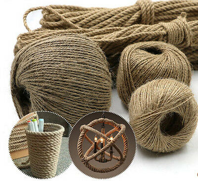 20M 1-4mm Twisted Craft Rope Natural Burlap Jute Twine Hemp Linen Cord String