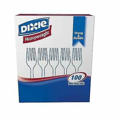 Dixie Plastic Tableware Heavyweight Forks White 100/Box Strong DurableConvenient
