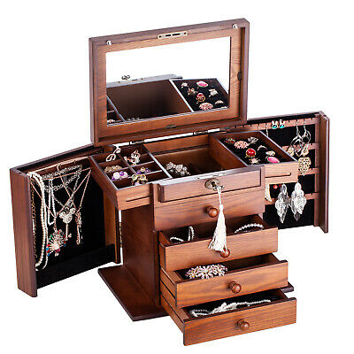 White Large Wooden Jewellery Box Armoire Bracelet Organizer 7 Drawers Mirror 018