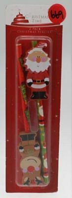 12 packs of 2 christmas pencils with erasers bulk wholesale lot that's 24 pencil